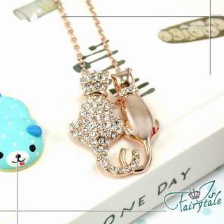 【伊飾童話】雙貓情緣*炫金水鑽項鍊