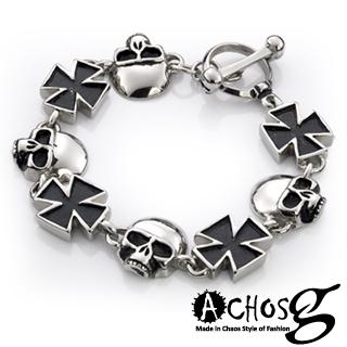 【ACHOS】Skulls水晶骷髏C 潮流西德鋼手環