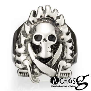 【ACHOS】Skulls水晶骷髏B 潮流西德鋼戒