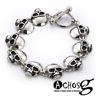 【ACHOS】Skulls水晶骷髏B 潮流西德鋼手環