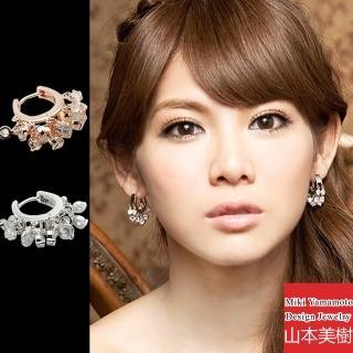 【山本美樹】月圓晶鑽 韓系耳扣式耳環(銀色/玫瑰金)   山本美樹
