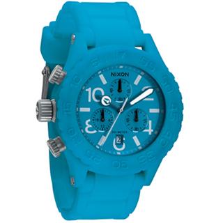 【NIXON】The RUBBER 40-20 CHRONO 風糜全場運動錶(膠帶-藍 NXA309917)