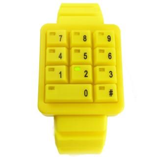【CLICK】創意爆破數字鍵盤個性腕錶(黃CL-KP-YLGN)
