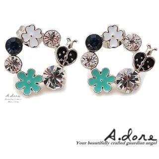 【A.dore】夏多內小瓢蟲花園水晶耳環(薄荷藍綠)