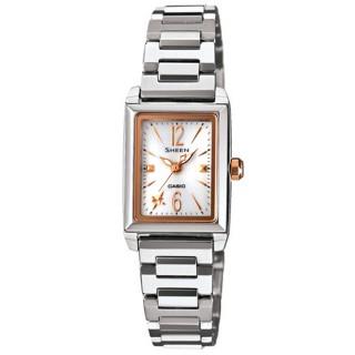 【CASIO】SHEEN系列 璀璨光輝太陽能都會腕錶(銀玫瑰金 SHE-4503SBD-7ADR)