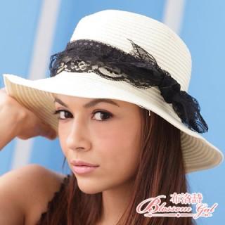 【Blossom Gal】蕾絲蝴蝶結藤編草帽(白色)