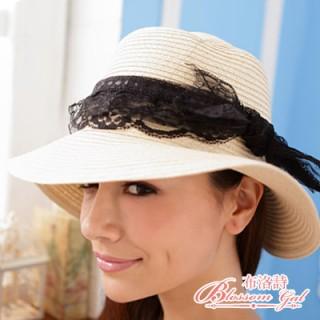 【Blossom Gal】蕾絲蝴蝶結藤編草帽(米色)