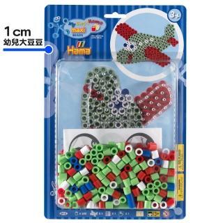 【Hama幼兒大豆豆】250顆大拼豆幼兒早教學習組合(透明飛機板)