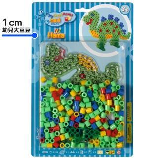 【Hama幼兒大豆豆】250顆大拼豆幼兒早教學習組合(透明恐龍板)