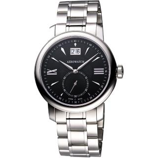 【AEROWATCH】 Renaissance 大視窗小秒針腕錶-黑/銀(A41937AA07M)