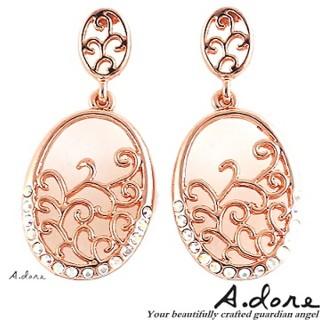 【A.dore】拜占庭戀人˙雕花水晶圓鑲耳環(玫瑰金)