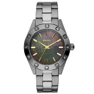 【DKNY】冷光柔情晶鑽腕錶(灰黑 NY8662)