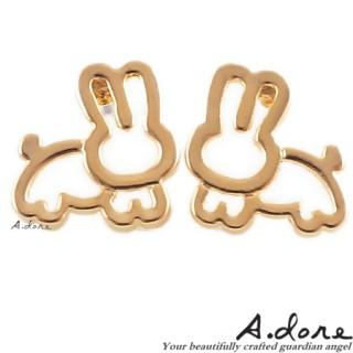 【A.dore】愛麗絲仙境˙純真小兔子耳環 (金系)
