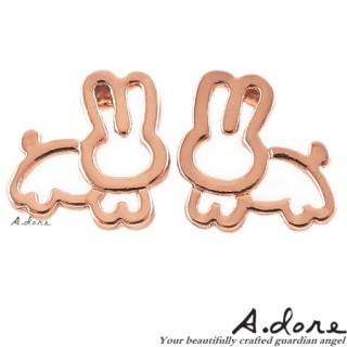 【A.dore】愛麗絲仙境˙純真小兔子耳環 (玫瑰金)