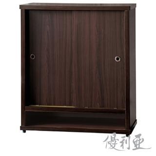 【MiCasa-簡約胡桃】3尺推門鞋櫃(全木心板)