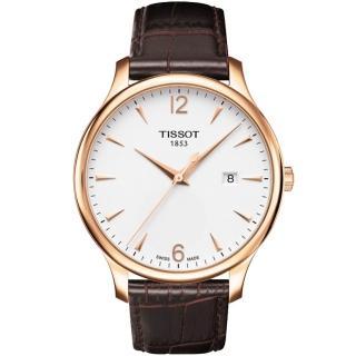 【TISSOT】Tradition復刻時尚腕錶-白/咖啡(T0636103603700)
