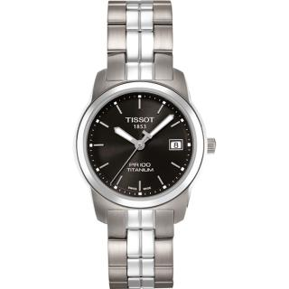 【TISSOT】PR100 經典瑞士石英鈦金屬女錶-黑(T0493104405100)