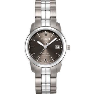 【TISSOT】PR100 經典瑞士石英鈦金屬女錶-鐵灰(T0493104406700)