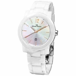 【Max Max 】魅力風華日期陶瓷腕錶(白玫瑰金 MAS5080-W7)