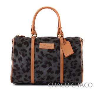 【CHACO韓國】華麗豹紋柔軟短毛波士頓包.L997(黑色)