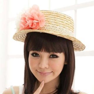 【PS Mall】日系女夏天沙灘花朵造型遮陽草帽/遮陽帽/編織帽(G056)