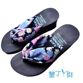 【墾丁ㄚ財】南洋風情花布人字拖(藍)
