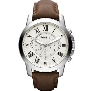 【FOSSIL】經典旗艦三眼計時腕錶-銀/咖啡(FS4735)