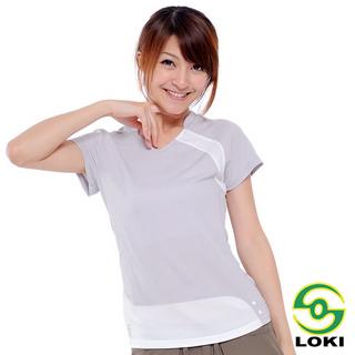 【LOKI】女V領抗UV短袖排汗衣(淺灰)