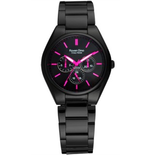 【Roven Dino羅梵迪諾】愛情鉅作三環日期腕錶(桃紅/大RD9803MB-436-P)