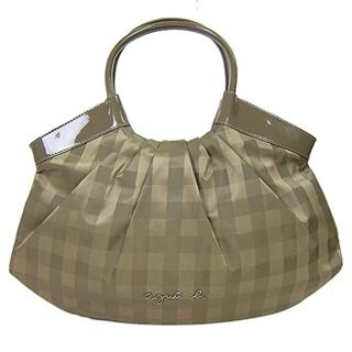 【agnes b.】格紋扇貝型手提包(咖)