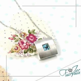 【伊飾童話】冰藍極光*方塊純銀項鍊