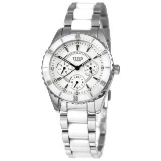 【TITUS鐵達時】幸福節奏三環陶瓷腕錶-白(06-2111-001)