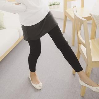 【衣心衣意中大尺碼】穿搭必備-假兩件棉裙配色內搭褲(黑-藍-紅-紫SA2A3056)
