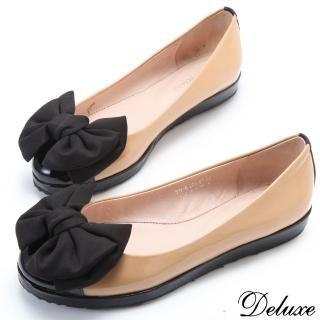 ~Deluxe~粉領優雅. 漆皮雙色拼接蝴蝶平底包鞋^(~米^)