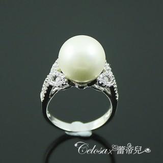 【蕾帝兒名品】雅麗白色貝殼珍珠戒指