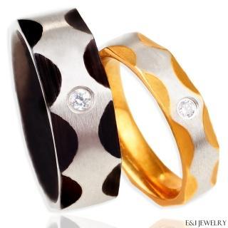 【E&I】-愛情角度-316L白鋼單鑽時尚造型戒指(單售款)