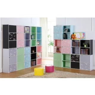 【EASY HOME】花系列兩層兩門收納櫃(五色可選)