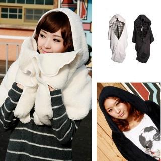 【Verona】多用途寬版加厚連帽絨圍巾披肩(黑色/白色)
