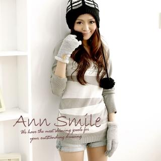 【微笑安安】毛絨內裡-雙扣毛邊亮蔥針織手套(共7色)  微笑安安