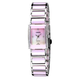 【iwatch】方形粉紅晶鑽陶瓷腕錶(小 IW-2004DL)