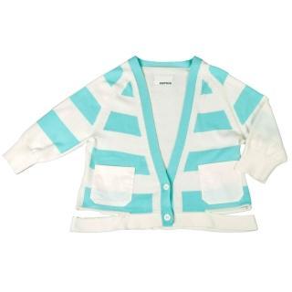 【摩達客】美國LA設計品牌(Suvnir)藍白橫紋針織衫外套