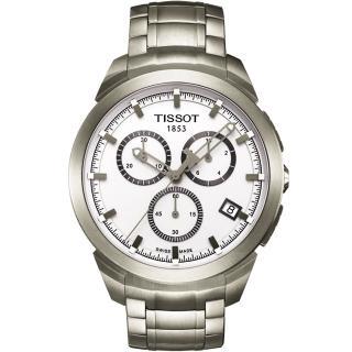 【TISSOT】T-SPORT 鈦金屬三眼計時腕錶-白(T0694174403100)
