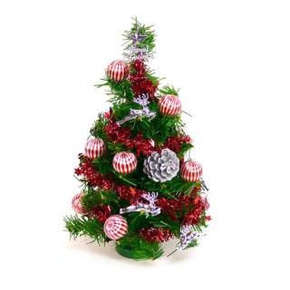 【聖誕裝飾品特賣】台灣製可愛迷你1呎(30cm裝飾聖誕樹 銀松果糖果球色系)