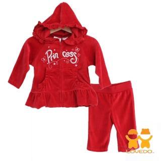 【LOVEDO-艾唯多童裝】公主款休閒運動套裝 外套+褲子(紅)