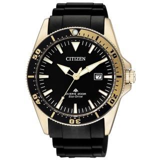 【CITIZEN】衝破極限都會日期腕錶(膠帶-黑金 BN0104-09E)