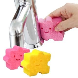 【日本AISEN】黏貼式小塊拼圖浴室洗臉台海綿刷(2包4入裝)