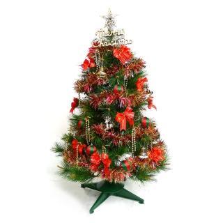【聖誕裝飾品特賣】台灣製豪華3尺(90cm特級綠松針葉聖誕樹-紅金色系配件+100燈LED燈一串)