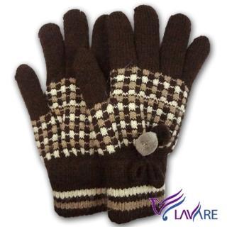 【Lavender】保暖雙層手套-絨毛球(咖啡色)