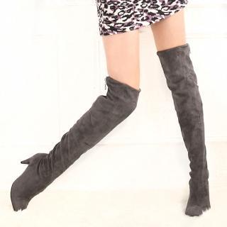 【☆Deluxe☆】韓版顯瘦-柔軟彈力麂皮過膝長靴靴(★二色)