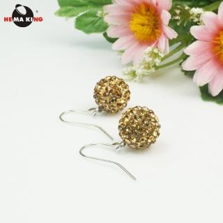 【HEMAKING】晶彩鑽球造型勾式耳環(檸檬黃)